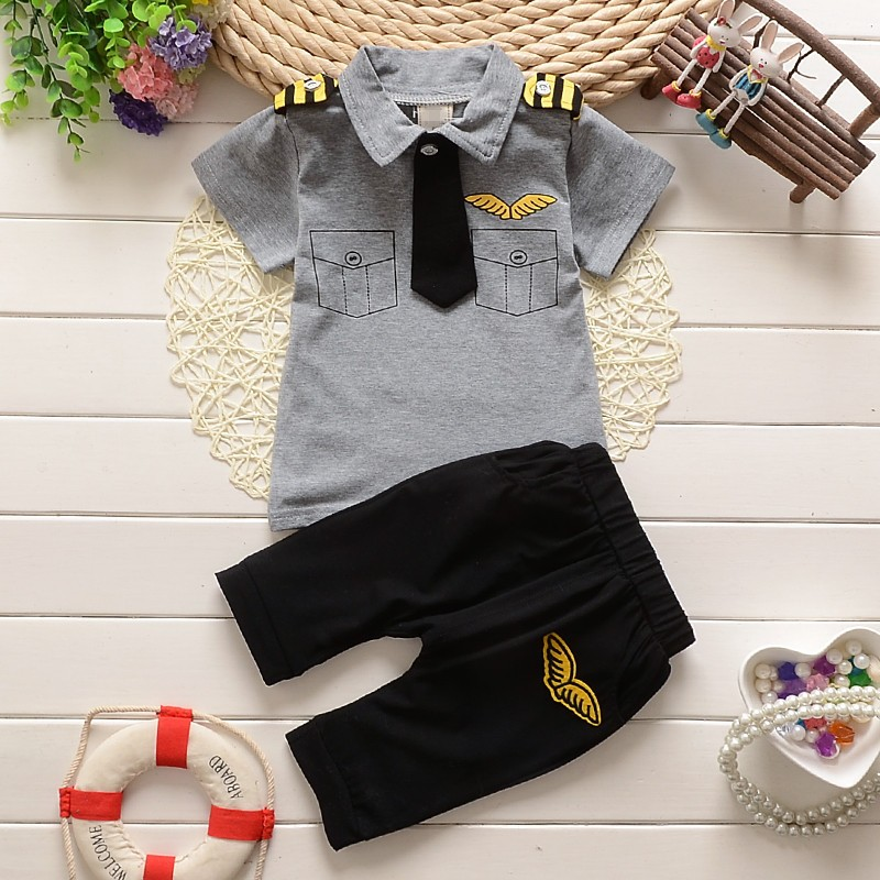 BibiCola clothes suits children baby boys summer clothing sets cotton kids tie gentleman outfits child short sleeve tops t shirt