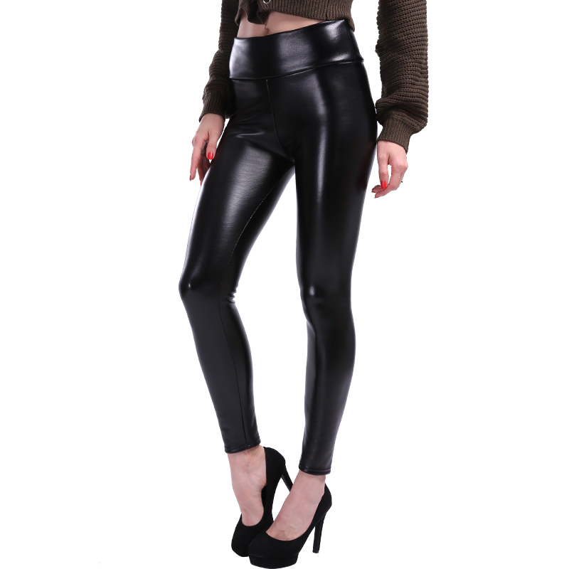 NORMOV S-5XL Plus Size Leather Leggings Women High Waist Leggings Stretch Slim Black Legging Fashion PU Leather Pants Women 8