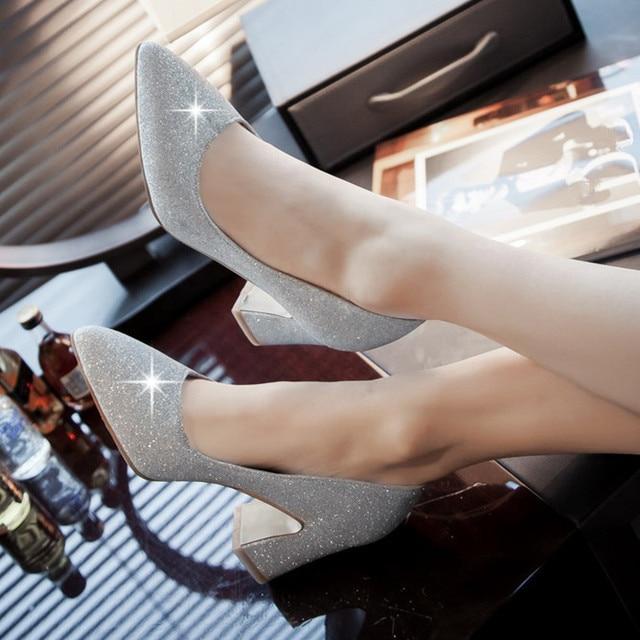 2017 mulher bombas sapatos salto baixo mulheres sapatos ponto toe sy-1870
