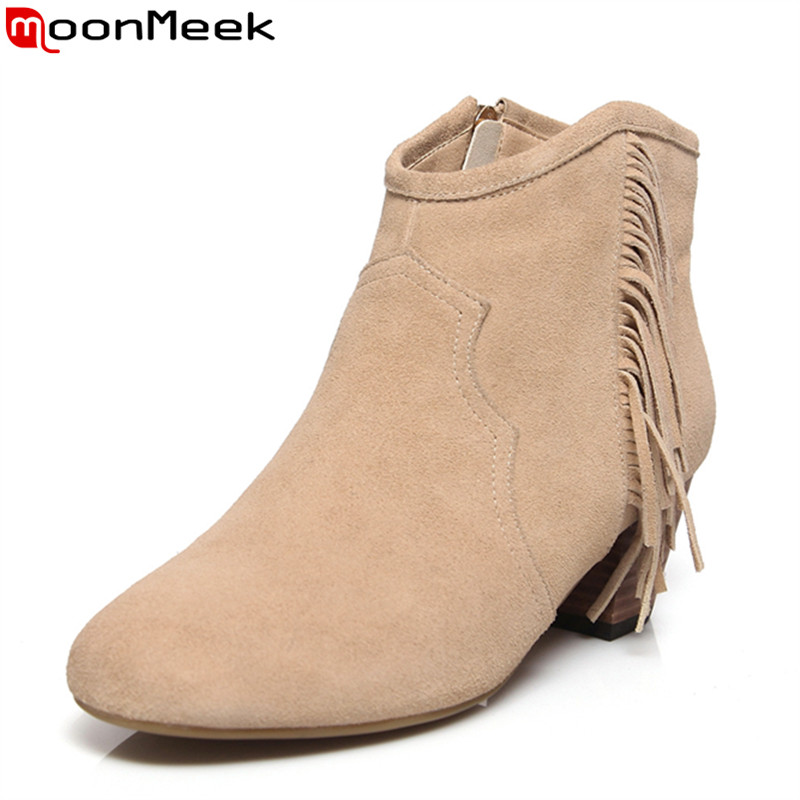ФОТО 2 colors tassel thick heels women ankle boots high quality cow suede leather spring autumn shoes for party with pointed toe