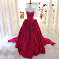 Jusere Plain Sweetheart Off Shoulder Ruffles Skirt Big Lovely New Design Lace Closure Long Train Red Puffy SimpleProm Dress 2018