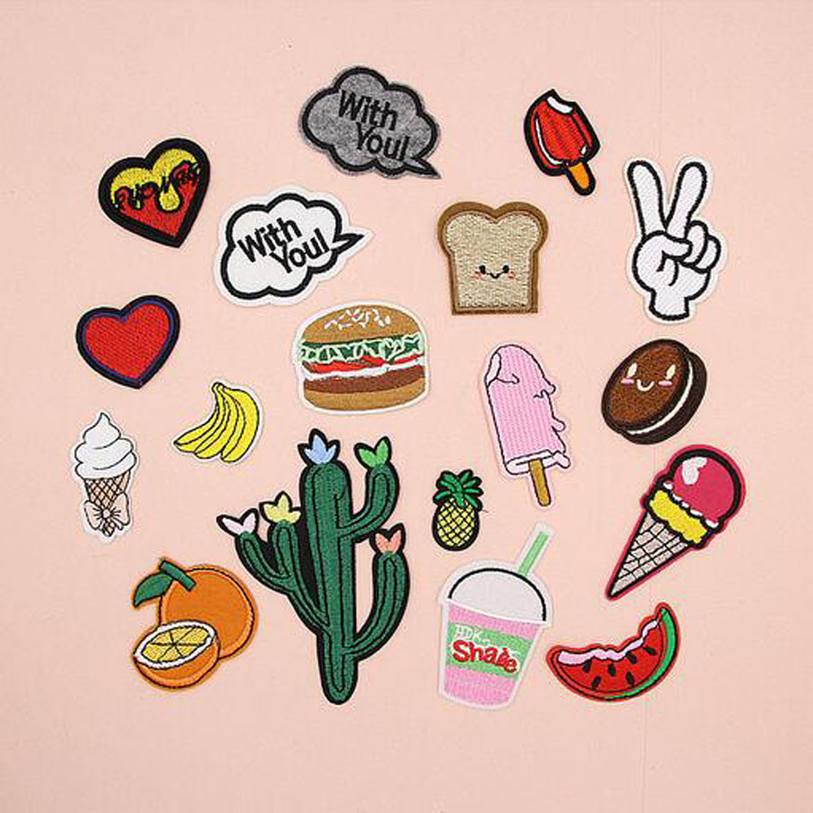 Fabric Embroidered Banana Heart Patch Cap Clothes Stickers Bag Sew Iron On Applique DIY Apparel Sewing Clothing Accessories BU64 in Patches from Home Garden