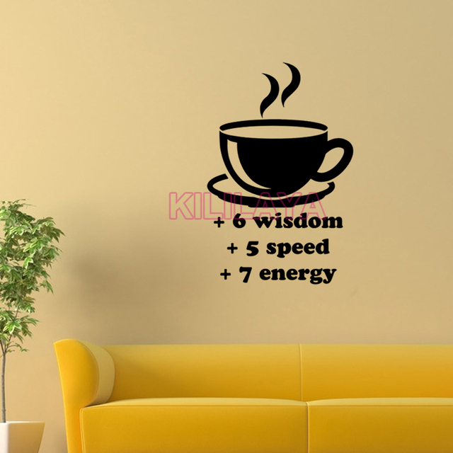 Stickers Coffee Cup Wisdom Speed Energy Vinyl Wall Sticker Decals ...