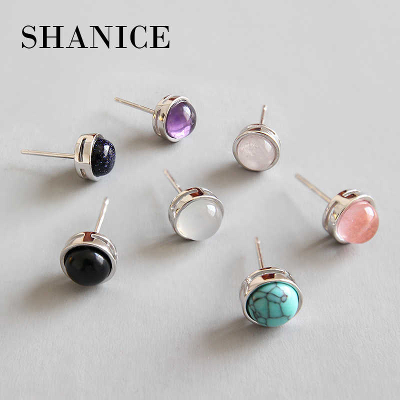 SHANICE Natural Round Stone Earrings Red White Green Crystal Stud Earrings 925 Silver Mosaic Earwear For Women Fashion Jewelry