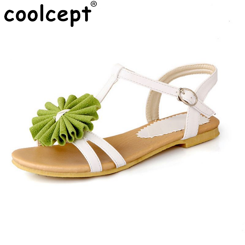 Gladiator Sandals For Women Bohemia Beaded Summer Flower Lady Flat Flip Flops Women Shoes Sweet Color Sandals Size 34-43 PA00364 2016 fashion summer women flat beaded bohemia ppen toe flat heel sweet women students beach sandals o643