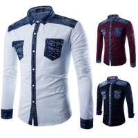 Shirt Cowboy Men 2017 New Fashion Business Casual Stitch Male Long Sleeved Shirts Mens Popular Selling