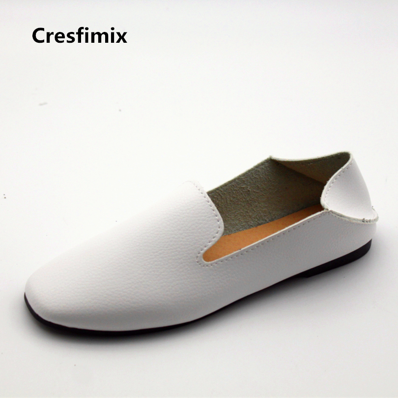 Cresfimix sapatos femininos women casual white round toe loafers female leisure spring slip on flat shoes lady cute & cool shoes 2017 shoes women med heels tassel slip on women pumps solid round toe high quality loafers preppy style lady casual shoes 17