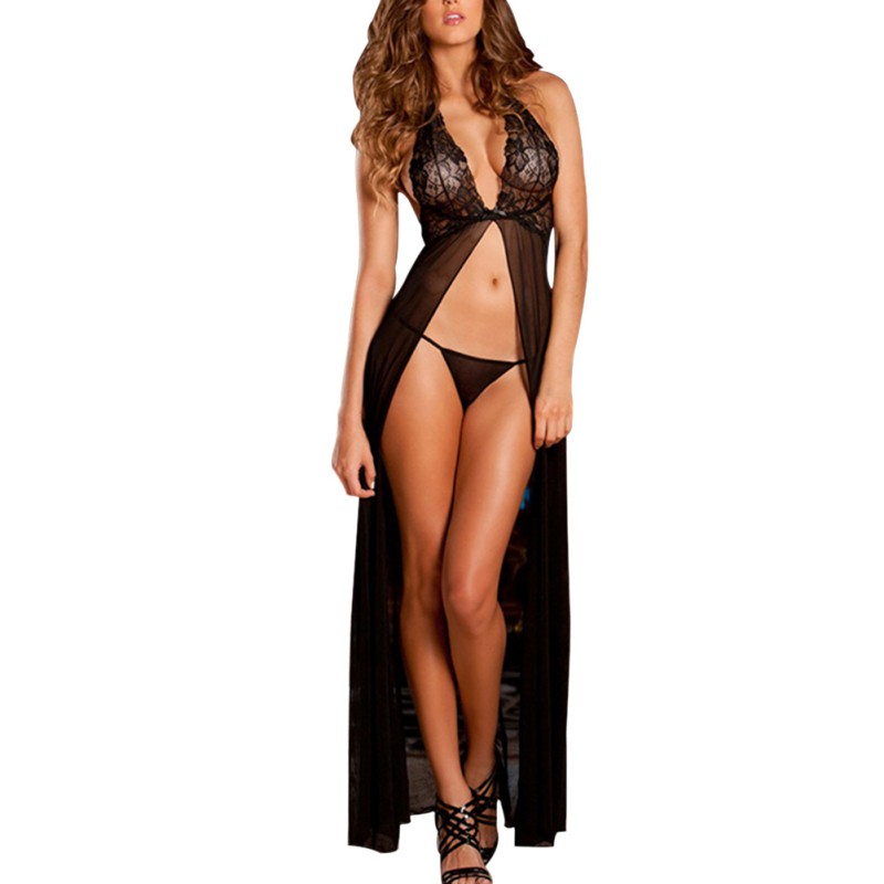 Sexy Lace Perspective Nightdress Lingerie Sleepwear Women V-Neck Mesh Long Nightgown + G-string lingerie top
