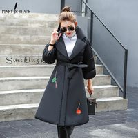 Pinky Is Black Winter Coat Women 2017 Hot Sale Long Parkas Fashion Female Clothing Thick Women