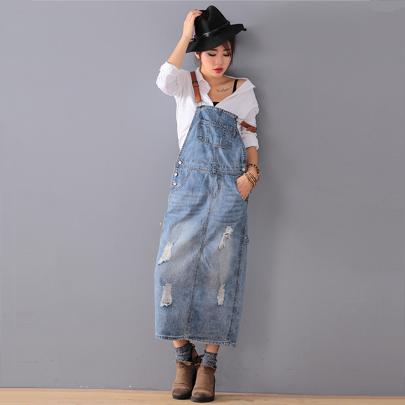 цены Free Shipping 2017 New Fashion Loose Denim Dresses With Holes Jeans Suspenders One Piece All-match Long Maxi Summer Ladies Dress