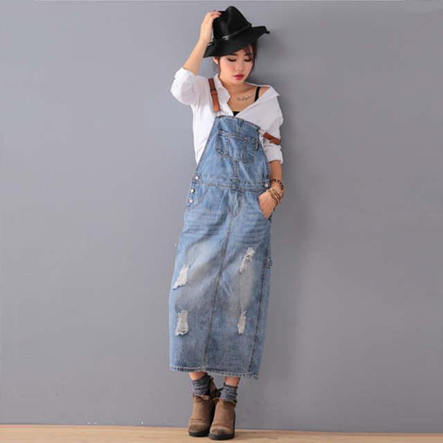 c6a354da3c placeholder O Envio gratuito de 2019 de Moda de Nova Solto Vestidos Jeans  Com Buracos Calça Jeans