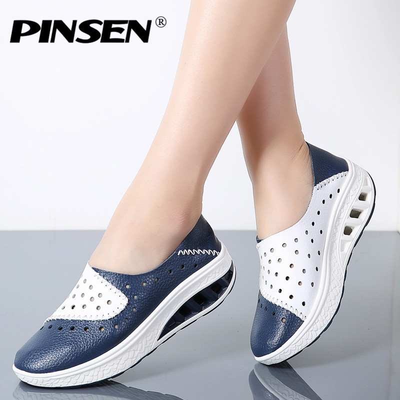 PINSEN 2018 Spring Women Genuine Leather Flats Women Platform Sneakers Creepers Cutouts Slip On Flats Moccasins Shoes Woman