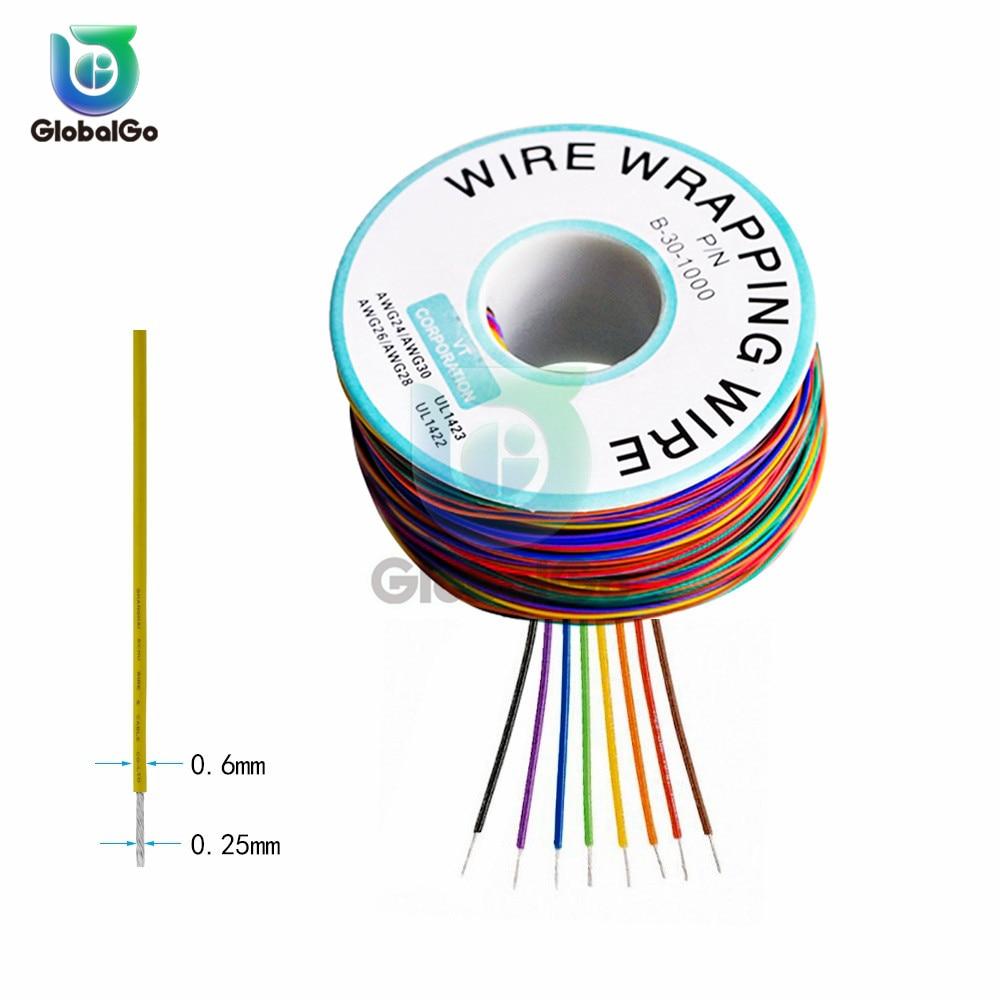 B-30-1000 UL1423 UL1422 Цветной 24AWG 26AWG 28AWG 30AWG провод обмоточный провод 0,25 мм Луженая Медь прочные из ПВХ кабельные перемычки