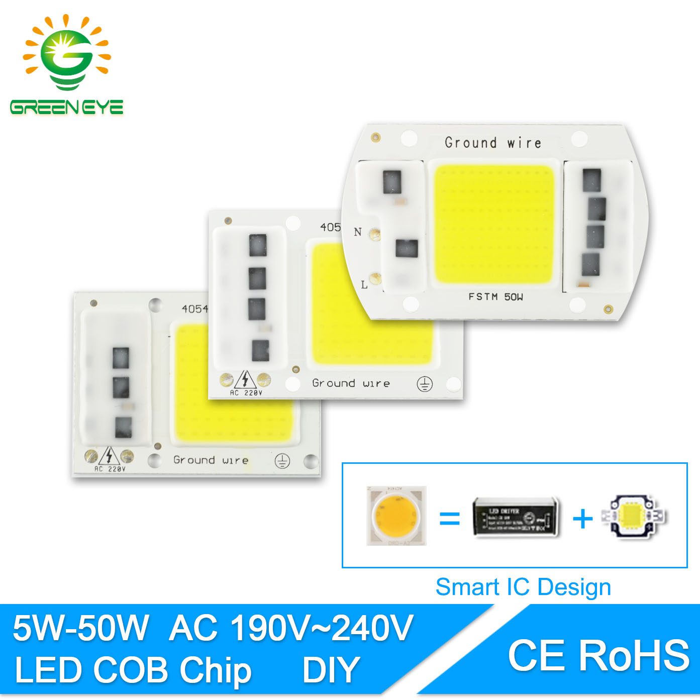 GreenEye AC 220V Integrated COB LED Lamp Chip 50W 30W 20W 10W 5W Smart IC Driver High Lumens For DIY Floodlight Spotlight