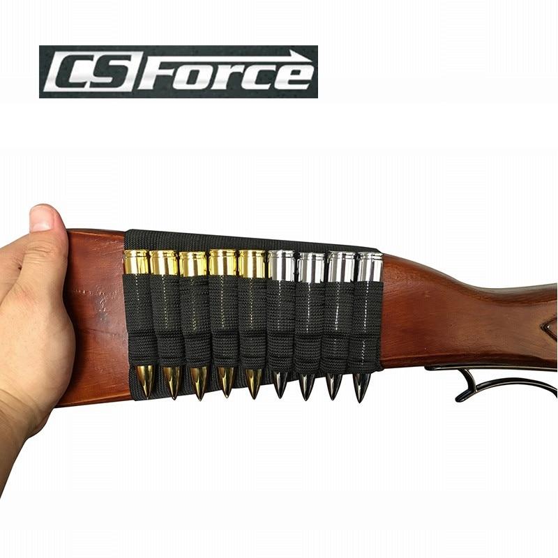 CS Fuerza 2X Caza Disparos Tactical Rifle Rifle Shell Holder Negro Butt Stock 9