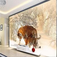 Papel De Parede Custom Mural Wallpaper 3d Tiger Winter Snow Photo Background Wall Wallpaper For Walls