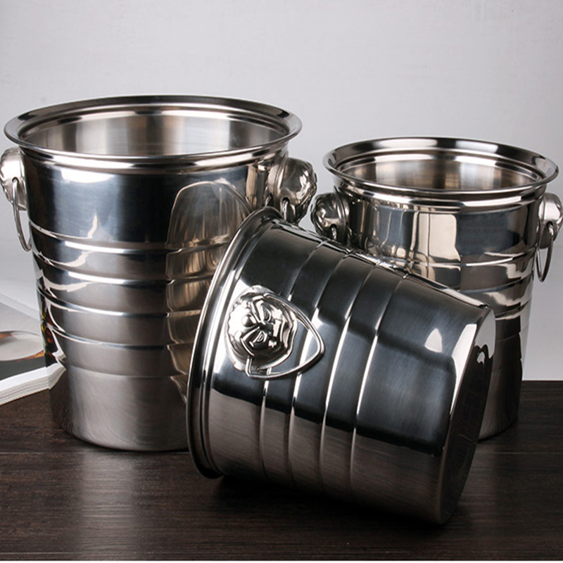 3L 5L 7L Stainless Steel Bar Ice Bucket Two Handles Champagne Bucket Wine Bucket Spit Wine Barrel Container Ktv Club Supplies