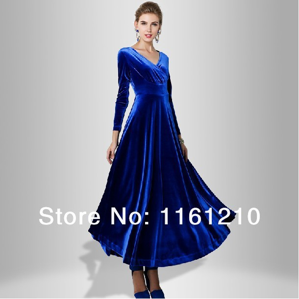 US $31.0 |Royal Blue Long Velvet Party Formal Evening Maxi Dress Gown Plus  sizes Evening dress Long dress-in Dresses from Women\'s Clothing on ...