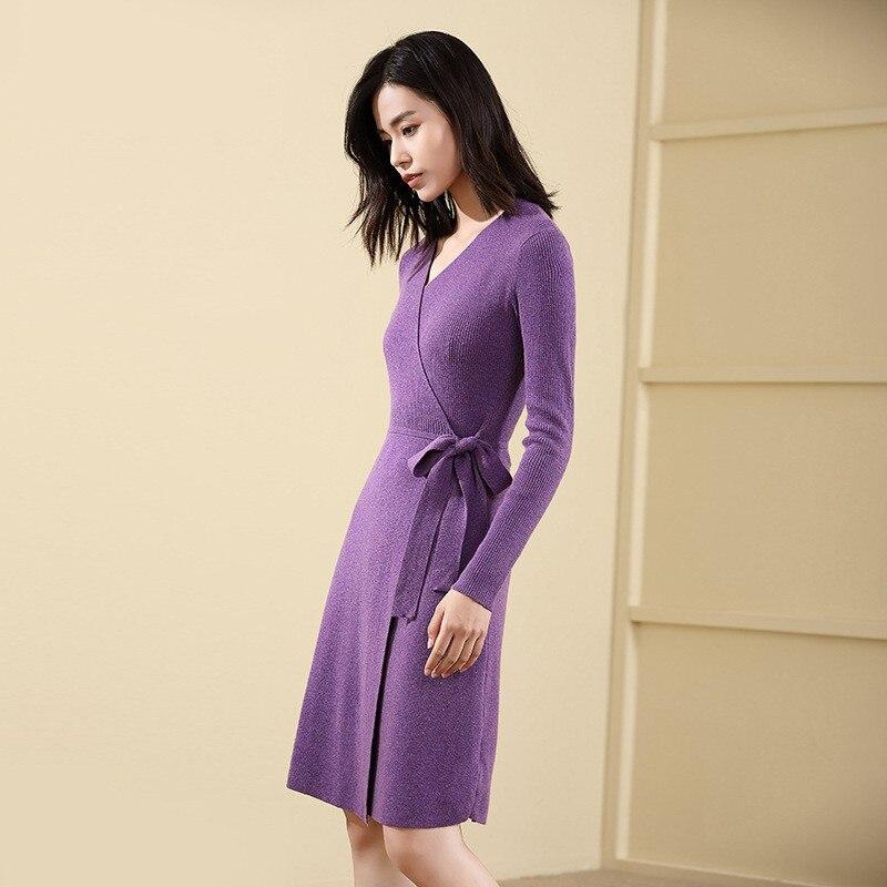 Designer Pulls Vêtements Solide Col Mode Automne Pull Longue De Purple black Femmes En V Laine Ceinture Étroite European American Pourpre Femme Robe j35LqcAR4
