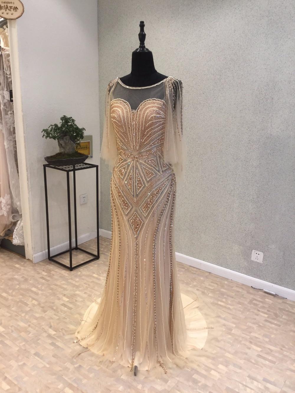 Gouden luxe zeemeermin avondjurken lange 2017 vestidos de baile - Jurken voor bijzondere gelegenheden - Foto 3