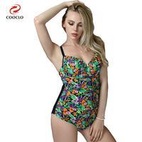 New Arrival One Piece Swimsuit Plus Size Floral Print Women Swimwear Backless Beachwear Vintage One Piece