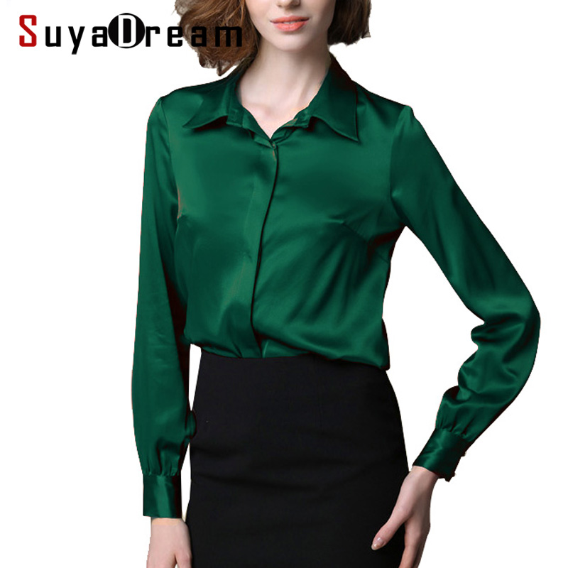 Women Real silk Blouse long sleeve Solid shirt Blusas femininas Office lady style Simple button shirt CUSTOM MADE Plus size 2018 xml made simple