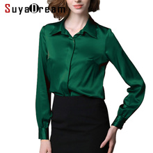 Women Silk Blouse long sleeve Solid shirt Blusas femininas Office lady Blouses C
