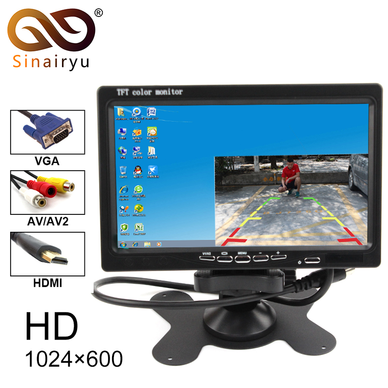 7Inch 1024x600 TFT Color LCD AV Vehicle Car Rearview Monitor With HDMI VGA AV Input CCTV Security Monitor+Remote Control