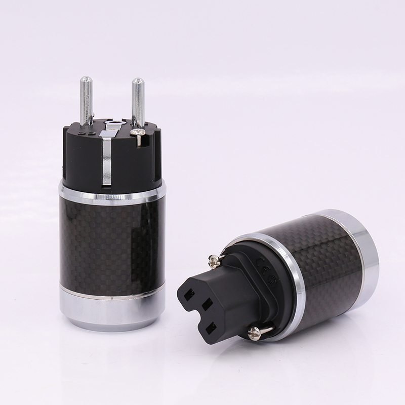 цена на Free shipping one pair Rhodium Plated EU Schuko Power Plug Male Female Carbon Fiber