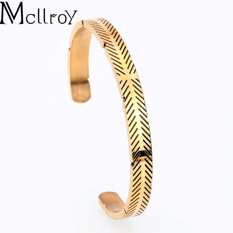 Mcllroy bangle men/women/cuff/love/bracelets & bangles open stainless steel titanium gold bangle couple bracelet jewelry viking