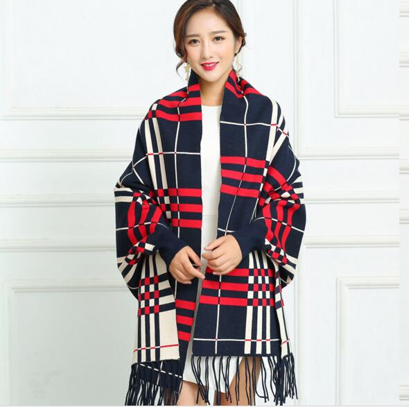 Plaid cashmere winter warm soft pashmina tassel with sleeve for women