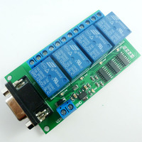 12V DC 4 Channel RS232 Relay Board PC USB UART DB9 Remote Control Switch For Smart