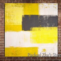 Hand Painted Abstract Simple Yellow Oil Paintings On Canvas Abstract Color Wall Picture For Living Room Bedroom Home Wall Decor
