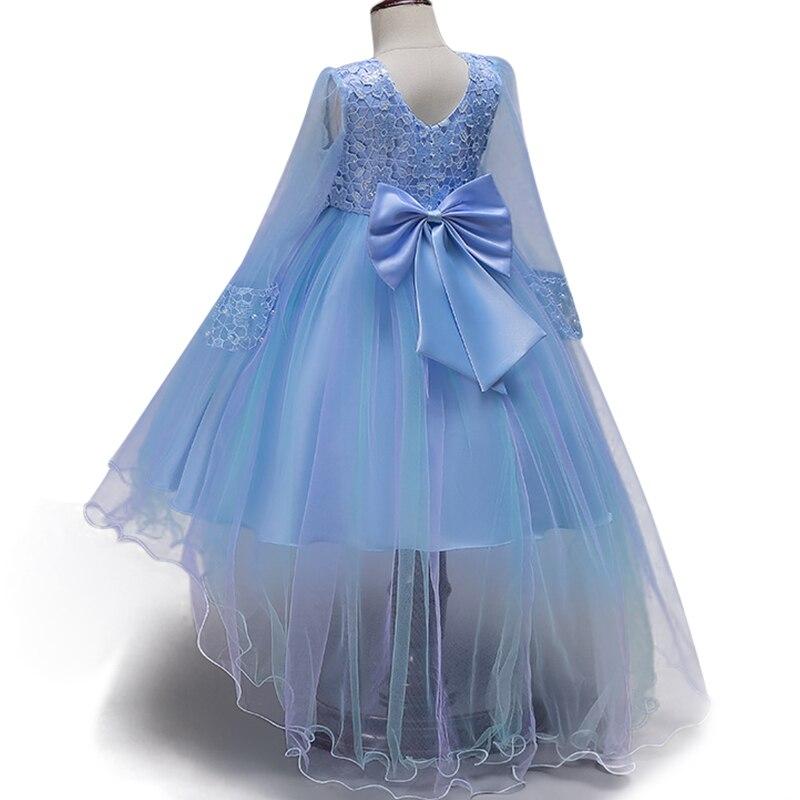 Children's transparent sleeves trailing evening   dress     Girls   Beading Lace Princess   Dress   Wedding sweet   flower     girl     dress