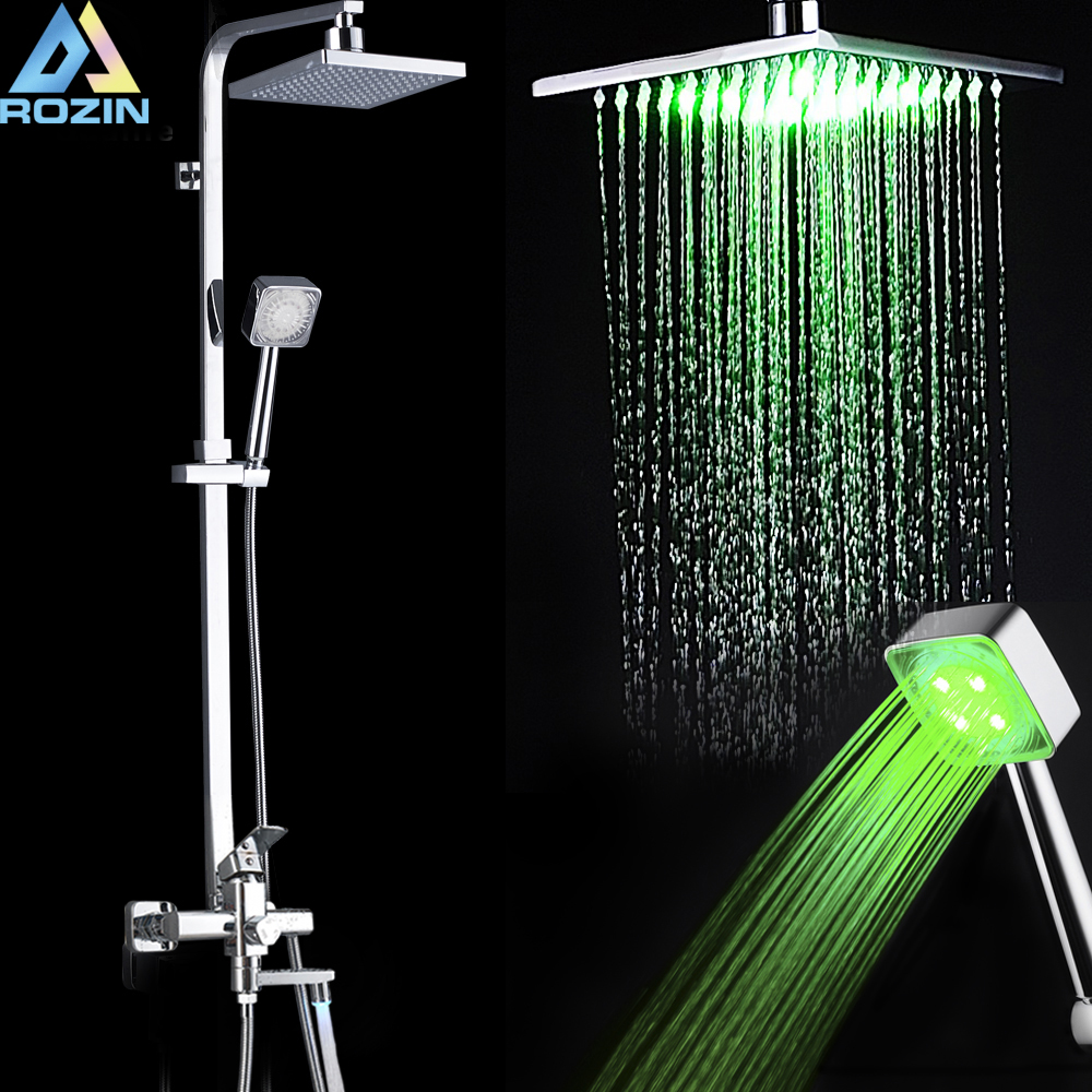 LED light Rainfall Bath Shower System Wall Mount Chrome Shower Faucet Single Handle Swivel Tub Spout Hot cold Water Mixer Tap
