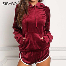 Sibybo Autumn Winter Two Piece Set Diamonds Velvet Rompers Womens Jumpsuit Casual Ladies Long Sleeve Bodycon