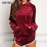 Sibybo Autumn Winter Two Piece Set Diamonds Velvet Rompers Womens Jumpsuit Casual Ladies Long Sleeve Bodycon