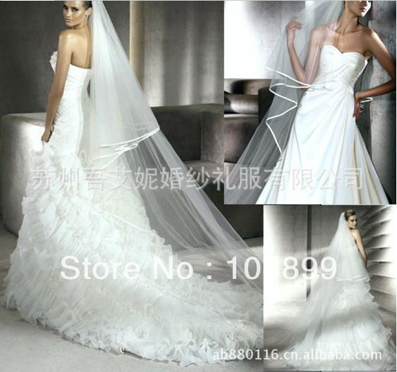 Elegant Tulle with Satin Edged Bridal Veils with Comb, 3 Meters custom made available , Cheap Price High Quality