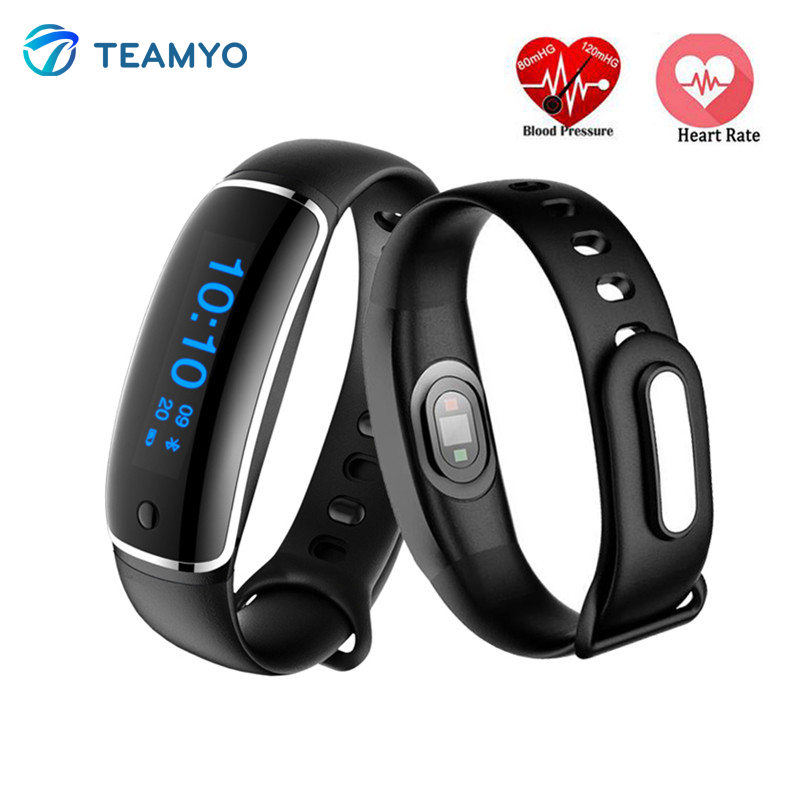 imágenes para Teamyo v08 cardio gimnasio rastreador pulsera inteligente monitor de ritmo cardíaco reloj de la presión arterial ip67 a prueba de agua de pulsera pulsera inteligente