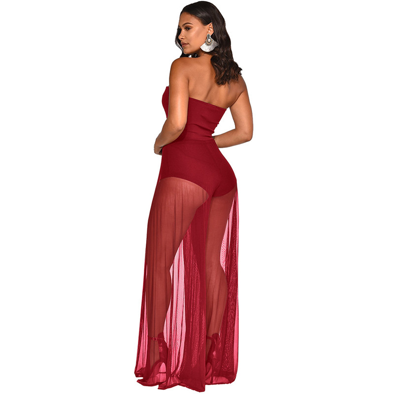 Echoine Women Jumpsuit Sexy See Through Mesh Patchwork Strapless Off Shoulder Loose Long Wide Leg Pants Fashion Rompers Clothes in Jumpsuits from Women 39 s Clothing