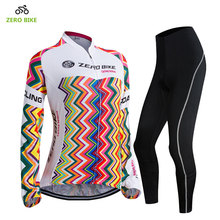 ZEROBIKE High Quality Women's Bicycle Jersey Set Breathable Full Zip Jacket 3D Padded Pants Cycling Clothing maillot ciclismo