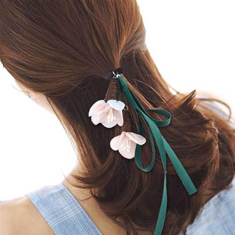 Hot Sweet 4 Colors Three Dimensional Flower Shape Ribbon Elastic