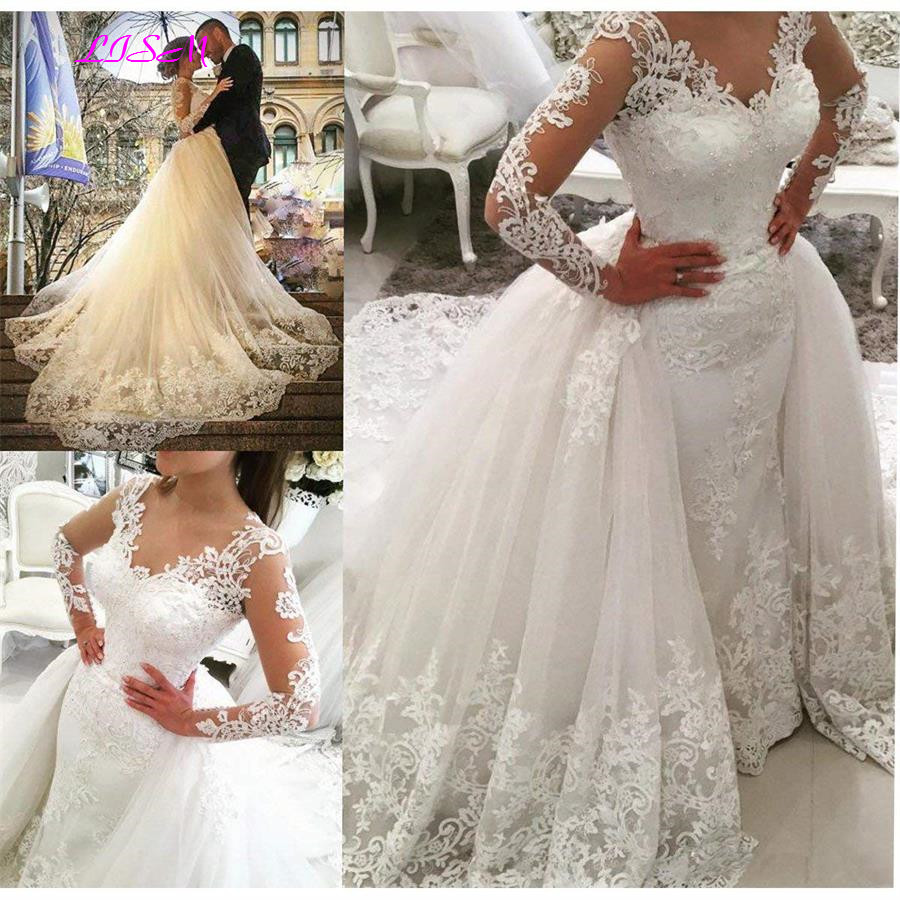 Vintage Lace Long Sleeves Wedding Dress for Bride 2019 Hot Selling Beaded Mermaid Bridal Dress Detachable Train vestido de noiva
