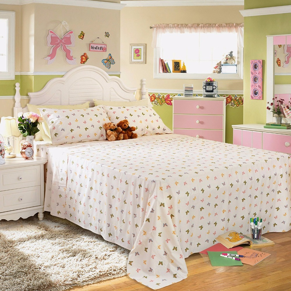 Fadfay Shabby Butterfly Bedding Girls Bed Sheet Set Romantic Sheets