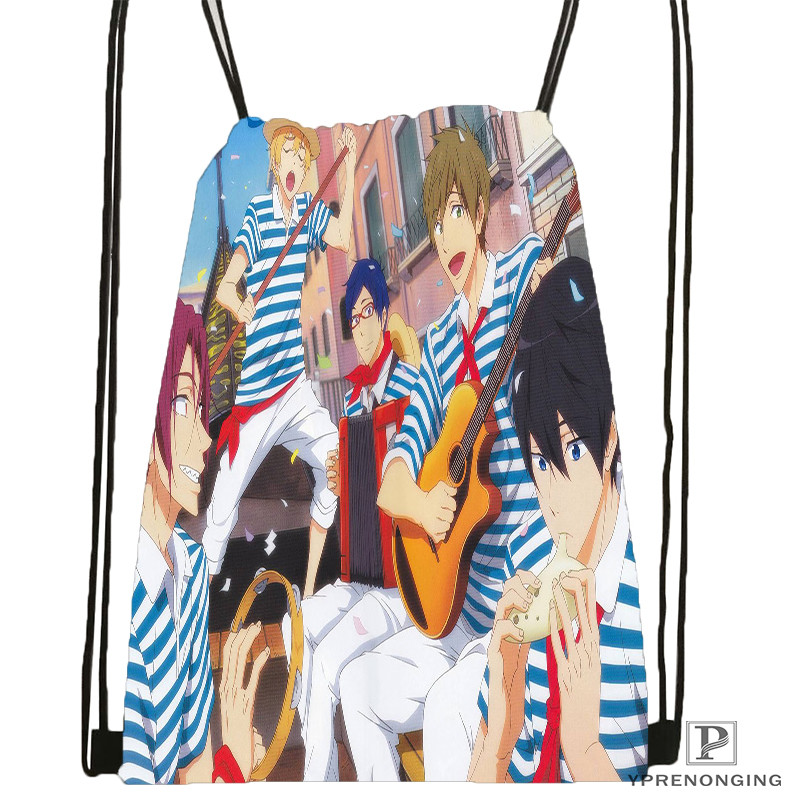 Custom Free-iwatobi-swim-club Drawstring Backpack Bag Cute Daypack Kids Satchel (Black Back) 31x40cm#180611-01-23