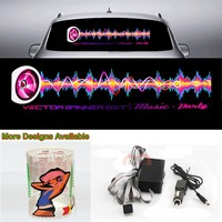 Lightning Car Sticker Music Rhythm LED Flash Light Sound Activated Equalizer 90cm*25cm 35.4in*9.84in