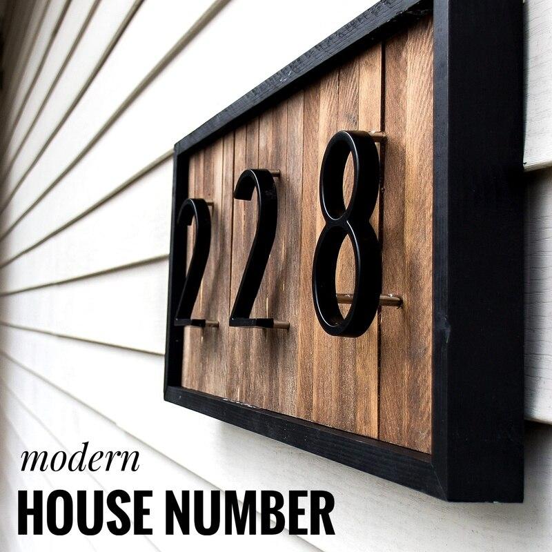 127 milímetros Big Porta Número Da Casa Moderna Endereço Número de Dígitos Da Liga Do Zinco Porta de Casa Sinal de Endereço #0 Preto- 9