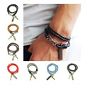 Tom hope 2015 Trendy Men Jewelry Black PU Leather Bracelet men With Cross Punk Charms 8 colors pulseras masculina