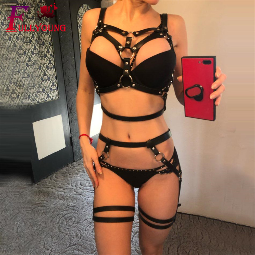 Fullyoung Sexy Leather Harness Underwear Set Goth Garter Belts Women Straps Bra Garter Body Belts Waist To Leg Bondage Cage