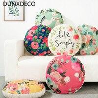 DUNXDECO Pillow Linen Cotton Round Cushion Country Style Garden Flora Fresh Birds Sofa Chair Decorative Pillows Home Decoration